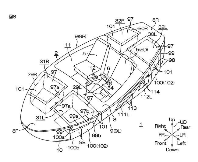 Yamaha запатентовала плавающий автомобиль субирающимися колёсами