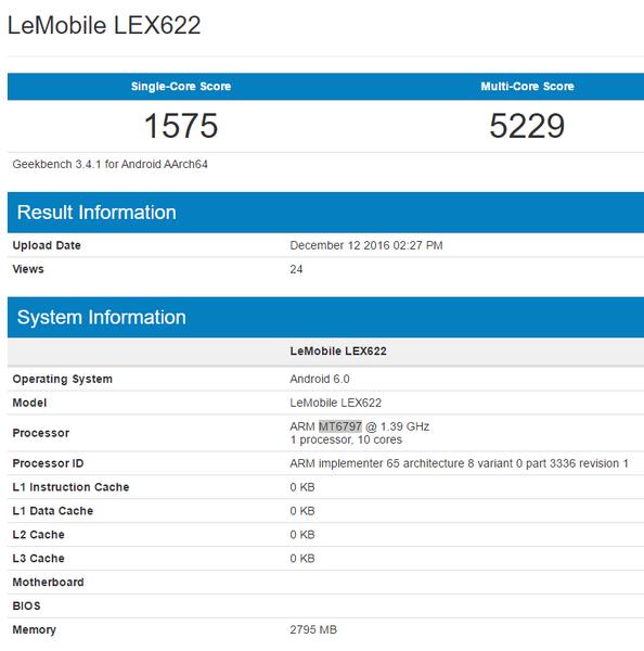 LeEco LEX622 получит 3 ГБ ОЗУ и SoC Helio X20