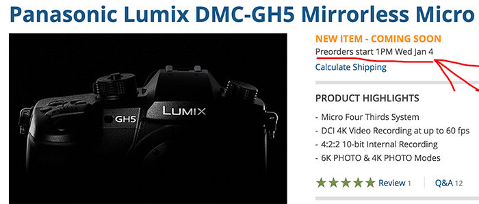 По предварительным сведениям, в Европе камера Panasonic Lumix DMC-GH5 будет стоить 1800-2000 евро