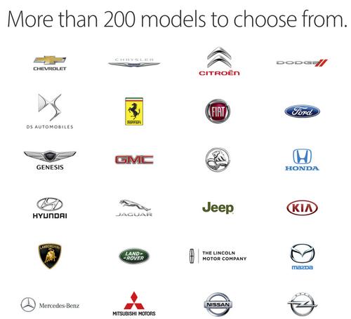 Apple обнародовала полный список авто, поддерживающих CarPlay