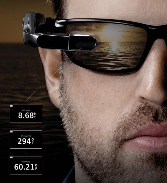 Носимый дисплей Garmin Nautix можно расположить ниже, выше или ровно посередине направления прямой видимости