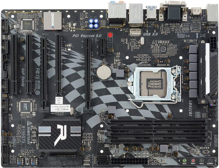 Плата Biostar Racing B150GT5 типоразмера ATX построена на наборе системной логики Intel B150