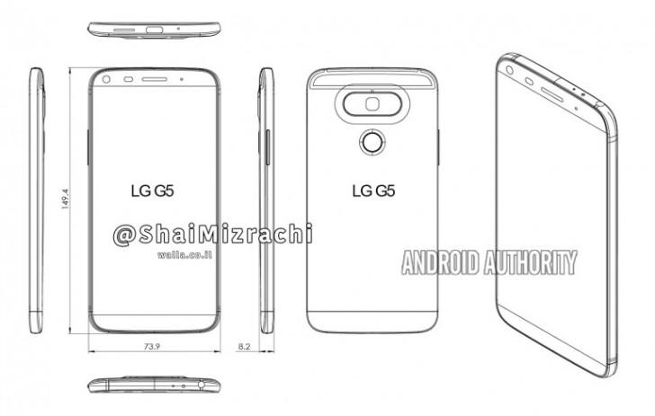 Эскиз смартфона LG G5 демонстрирует обновленный дизайн и кнопки регулировки громкости на боковой грани