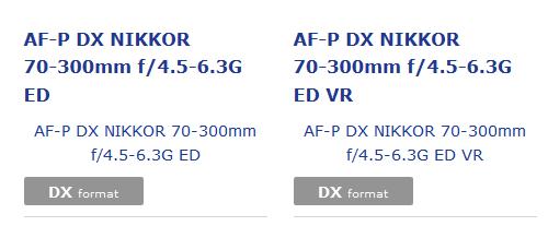 Сведений о дате анонса и ценах объективов AF-P DX Nikkor 70-300mm f/4.5-6.3G ED VR и AF-P DX Nikkor 70-300mm f/4.5-6.3G ED пока нет
