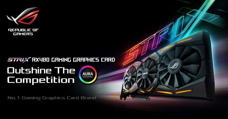 Карта ROG Strix RX 480 украшена полноцветной светодиодной подсветкой Aura RGB