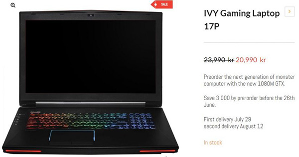 ������� IVY 17P ������� ����������� Nvidia GeForce GTX 1080M