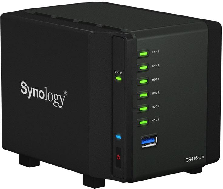 Хранилище Synology DiskStation DS416slim оснащено двумя портами Gigabit Ethernet