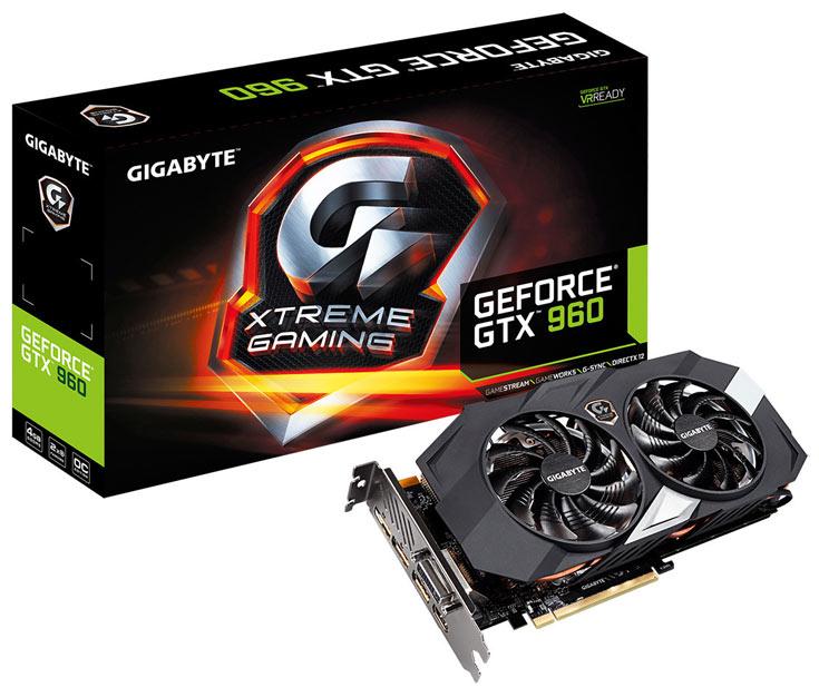 Карта GV-N960XTREME-4GD оснащена системой охлаждения WindForce 2X