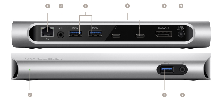 Док-станция Belkin Thunderbolt 3 Express Dock HD насчитывает множество портов