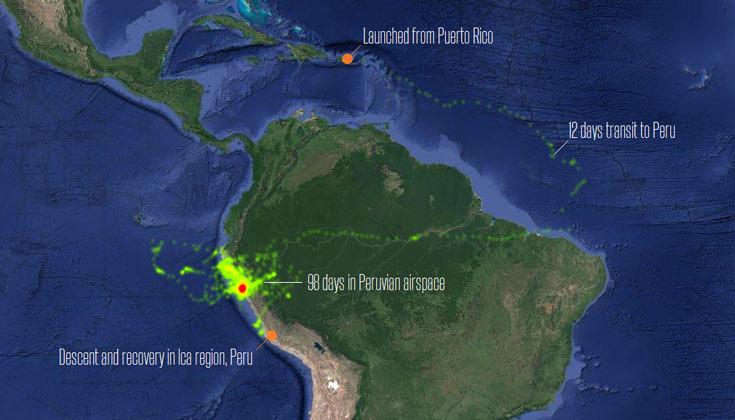 Экспериментальный шар продержался в районе перуанского побережья 98 дней
