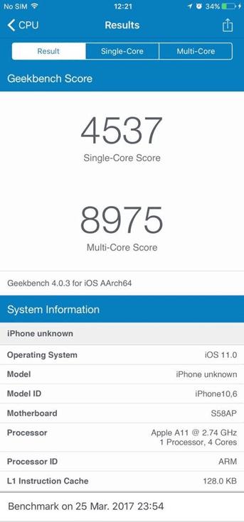 Появились результаты теста Geekbench, приписываемые SoC Apple A11