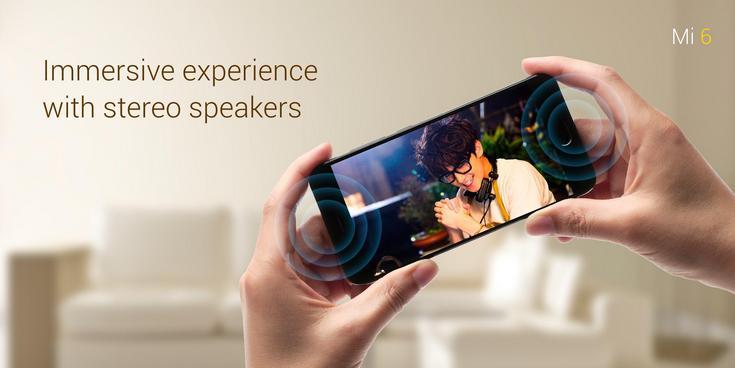 Представлен смартфон Xiaomi Mi 6, который получил сдвоенную камеру с оптическим зумом, два динамика и защиту от брызг