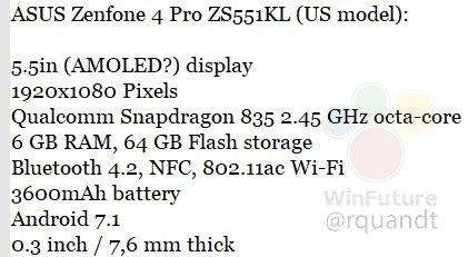 Смартфон Asus Zenfone 4 Pro получит самый емкий аккумулятор среди устройств с SoC Snapdragon 835