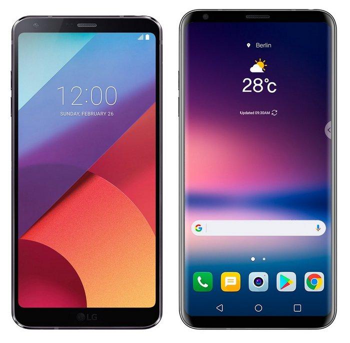Смартфоны LG G6 и LG V30 позируют на одном изображении