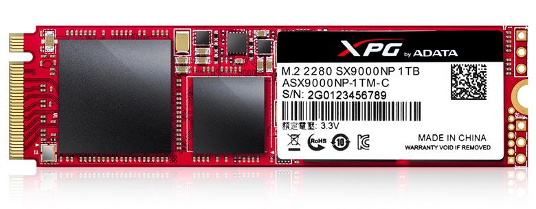 SSD Adata XPG SX9000 c интерфейсом PCIe Gen3 x4 поддерживает протокол NVMe 1.2