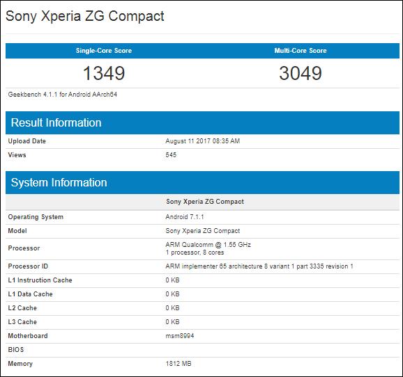 Смартфон Sony Xperia ZG Compact замечен в Geekbench