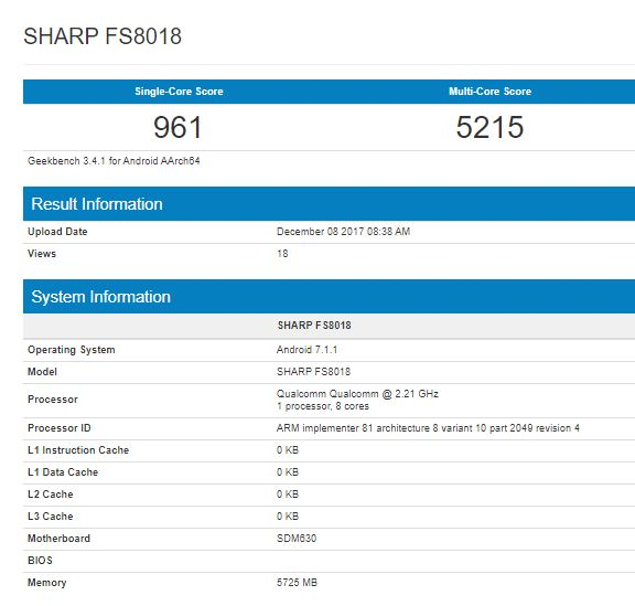 Смартфон Sharp FS8018 протестирован в Geekbench