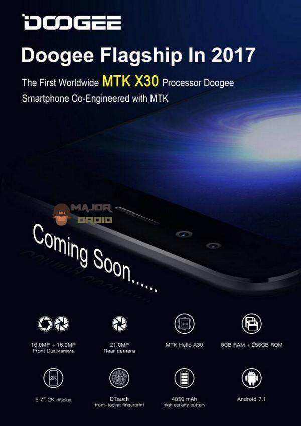 Doogee обещает выпустить первый смартфон с SoC Helio X30, который будет оснащен 8 ГБ ОЗУ и сдвоенной фронтальной камерой