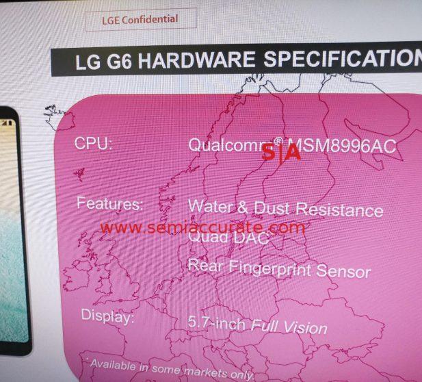 Snapdragon 821 и остальные  характеристикиLG G6 на тайном  слайде