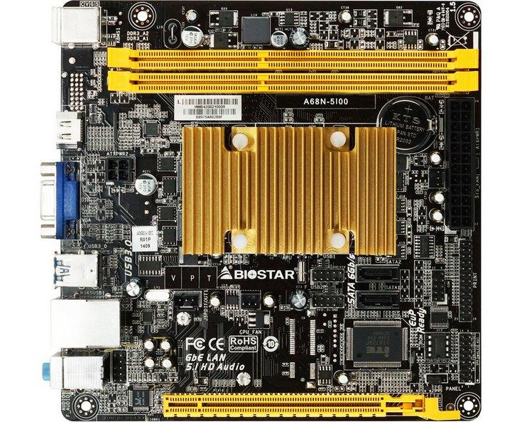 Системная плата Biostar A68N-5100 получила пару портов USB 3.0