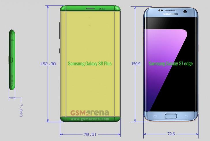 Опубликованы точные размеры смартфонов Samsung Galaxy S8 и S8 Plus