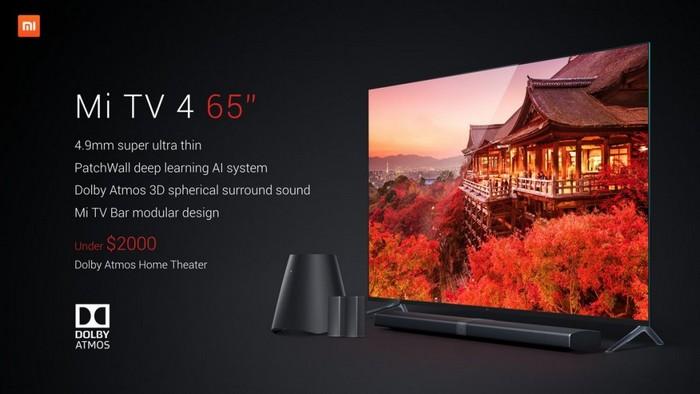 Толщина модульного 65-дюймового телевизора Xiaomi Mi TV 4 составляет 4,9 мм