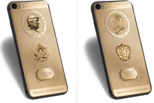 Caviar выпустила золотые смартфоны iPhone 7 с изображениями Владимира Путина и Дональда Трампа