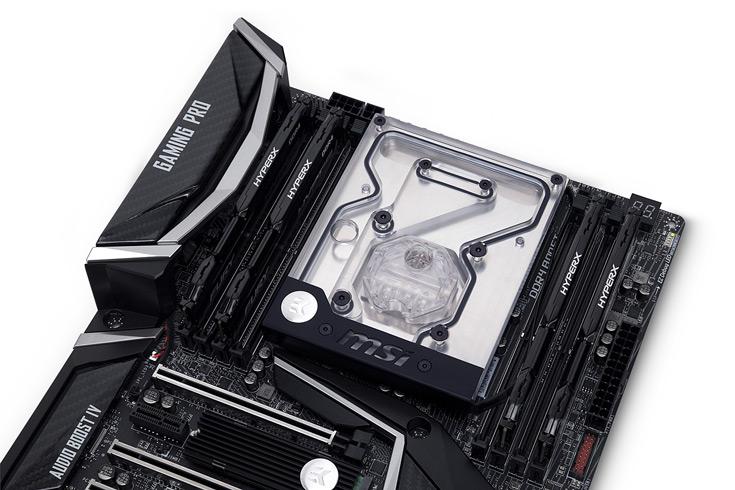 Цена водоблока EK-FB MSI X299 Gaming Pro Carbon RGB примерно равна 120 евро