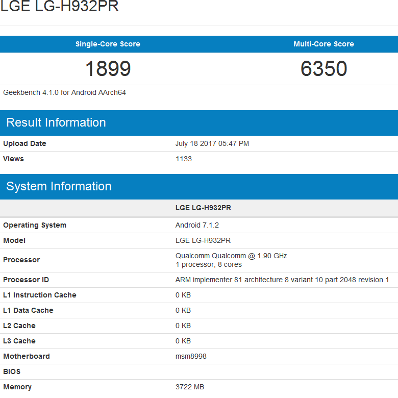 Конфигурация LG V30 включает SoC Snapdragon 835 и 4 ГБ ОЗУ
