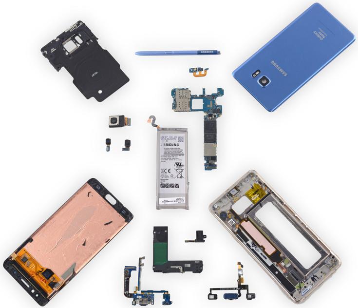 Ремонтопригодность смартфона Galaxy Note Fan Edition специалисты iFixit оценили в четыре балла