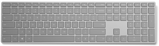 Корпус клавиатуры Microsoft Modern Keyboard with Fingerprint ID изготовлен из алюминиевого сплава