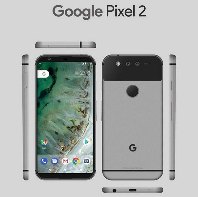 Опубликовано изображение смартфона Google Pixel 2 со всех сторон