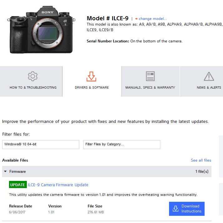 Новая версия прошивки для камеры Sony A9 носит номер 1.01