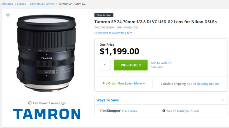 Объектив Tamron SP 24-70mm f/2.8 Di VC USD G2 оценен в $1200