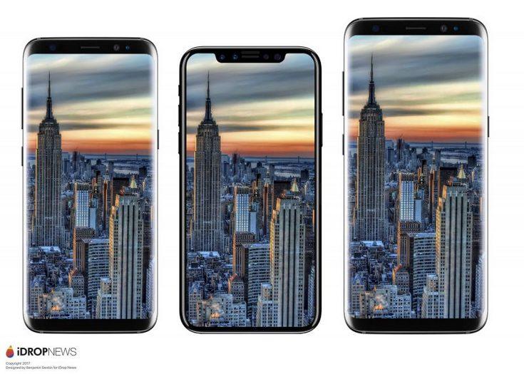 iPhone 8 сравнили по размеру с iPhone 7 и Galaxy S8