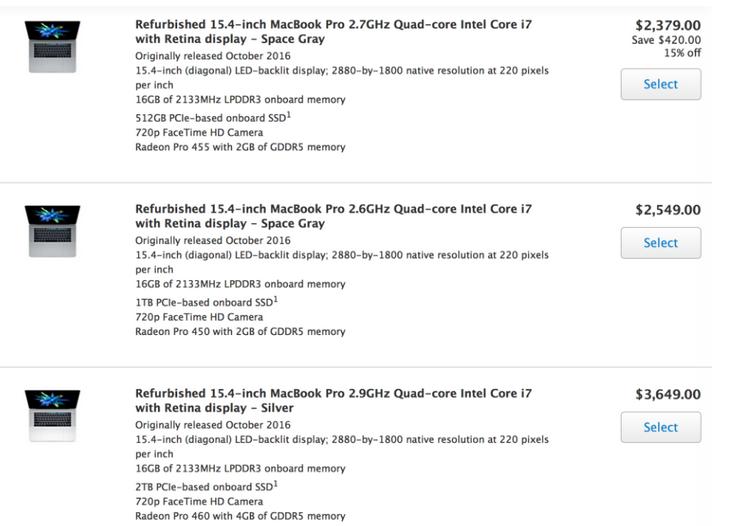 Ассортимент восстановленных ноутбуков Apple пополнился новыми моделями MacBook Pro с панелью Touch Bar