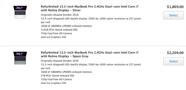 Apple начала продавать восстановленные ноутбуки MacBook Pro нового поколения, но почти сразу распродала первую партию
