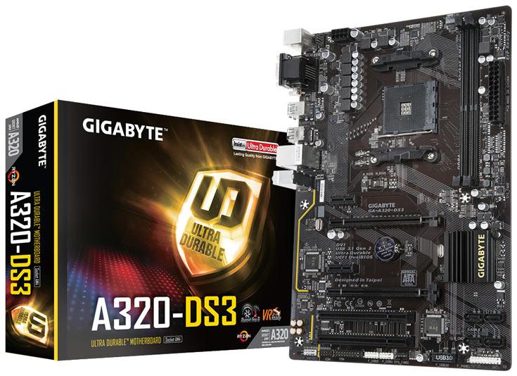 Системная плата Gigabyte A320-DS3 с процессорным гнездом AM4 относится к начальному уровню
