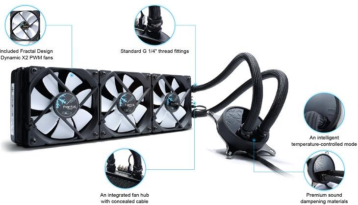 В оснащение СВО Fractal Design Celsius S24 и Celsius S36 входят фирменные вентиляторы X2 GP-12
