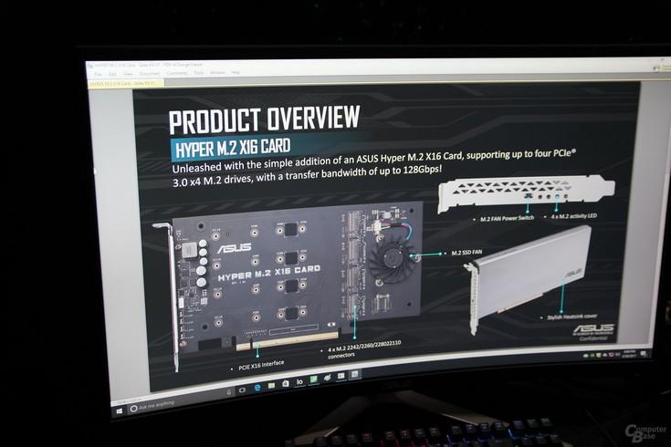 Asus Hyper M.2 x16 Card — плата PCIe для подключения четырёх SSD и создания массивов RAID 0. Для RAID 1 и RAID 5 придётся докупить ключ