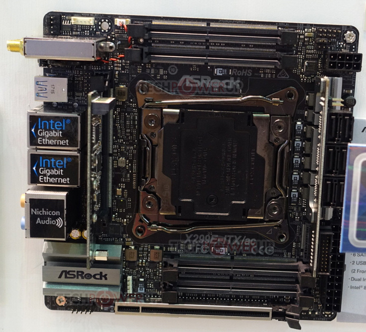 Плата ASRock X299E-ITX/ac оснащена тремя слотами M.2 и шестью портами SATA 6 Гбит/с