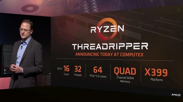 Все процессоры AMD Threadripper будут иметь 64 линии PCIe и четырёхканальный контроллер оперативной памяти