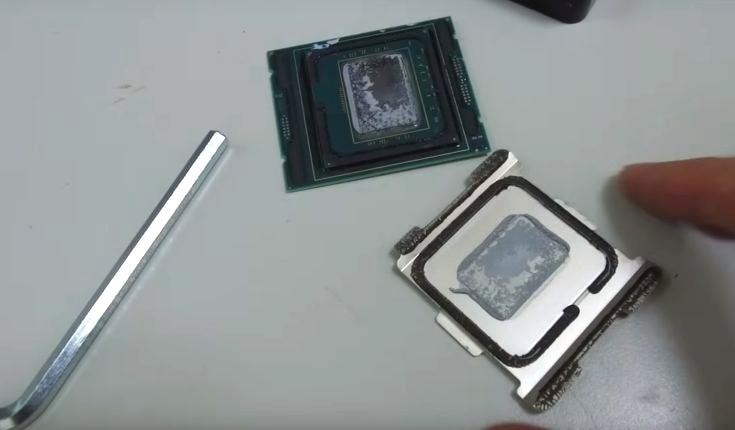 Вместо припоя используется другой термоинтерфейсный материал