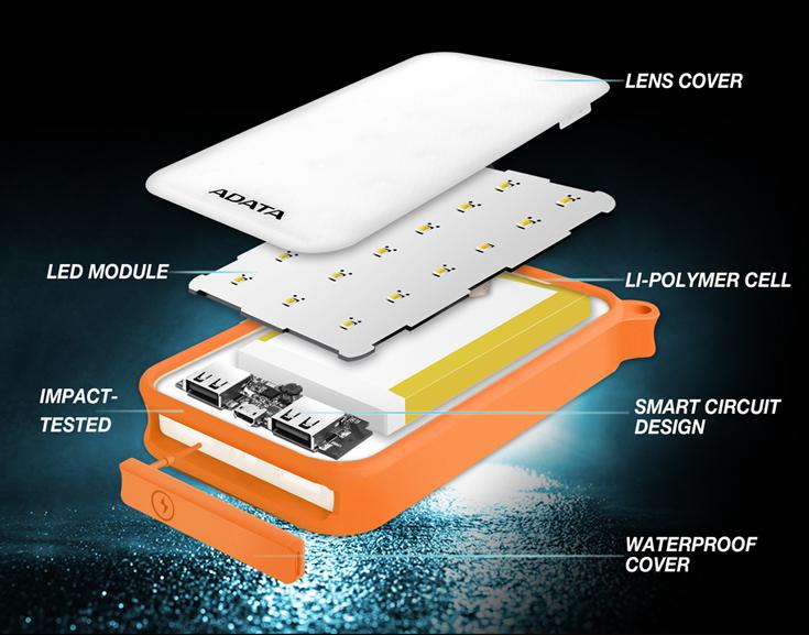 Adata D8000L — мобильный аккумулятор со светодиодным светильником, световой поток которого достигает 200 лм