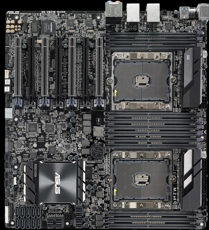 Системная плата Asus WS C621E SAGE оснащена семью  слотами PCIe 3.0 x16