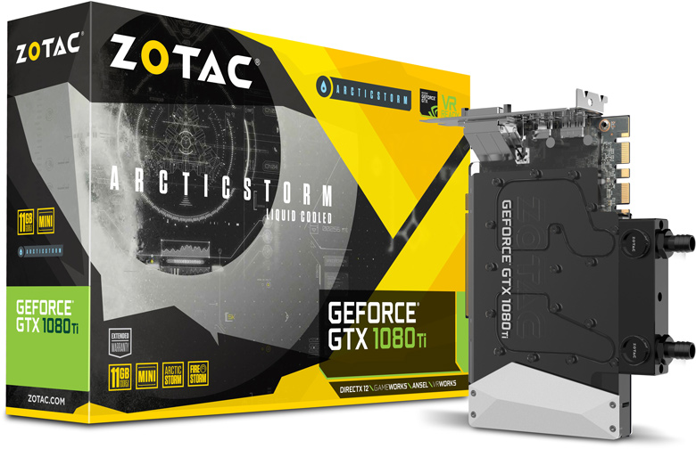 3D-карта Zotac GeForce GTX 1080 Ti ArcticStorm Mini оснащена водоблоком