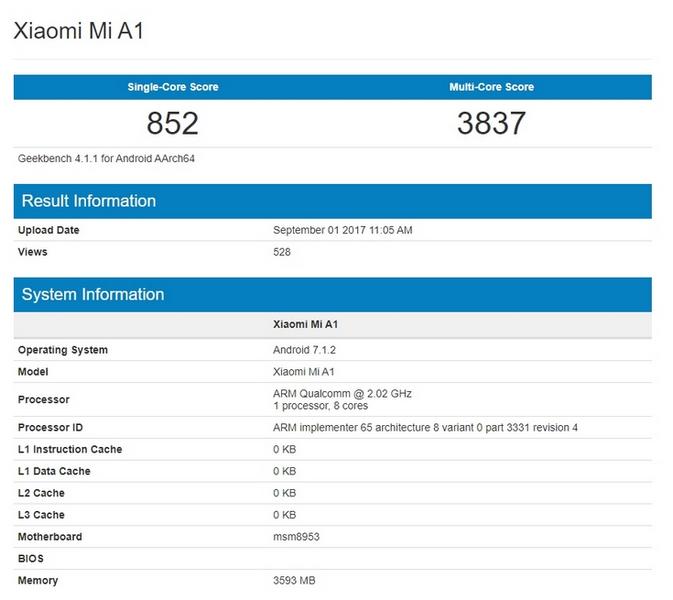 Стали известны параметры Xiaomi Mi A1