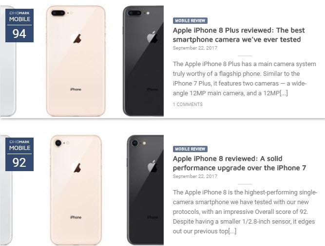 Специалисты DxOMark назвали iPhone 8 Plus лучшим камерофоном всех времен, оценив его в 94/100