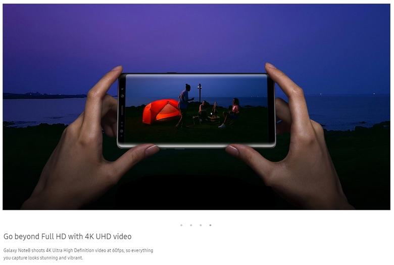 Samsung Galaxy Note8 научится снимать видео 4K при 60 к/с