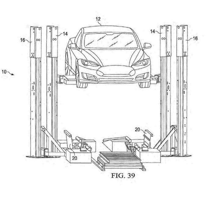 Tesla запатентовала станцию быстрой замены батарей